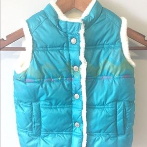 Old Navy blue fleece lined puffer jacket vest 5T